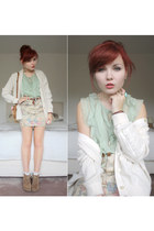beige Topshop skirt - eggshell cardigan - light blue Forever 21 blouse