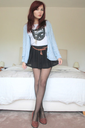 white cat print tee Topshop t-shirt - black OASAP shorts - sky blue cardigan