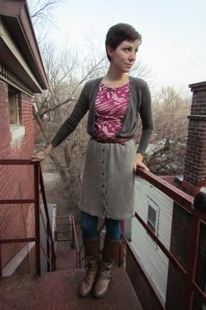 heather gray vintage skirt - light brown Target boots - hot pink Target top