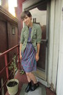 Black-target-boots-blue-vintage-dress-olive-green-banana-republic-jacket