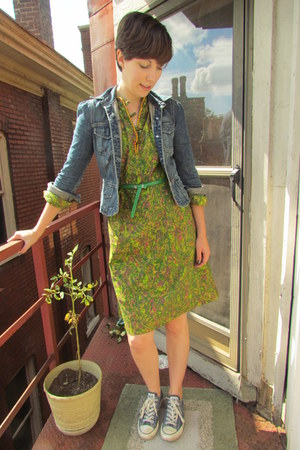 lime green vintage dress - navy vintage calvin klein jeans jacket