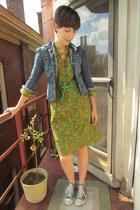 lime green vintage dress - navy vintage calvin klein jeans jacket