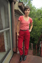 red vintage pants - black Dolce Vita for Target boots - magenta vintage belt