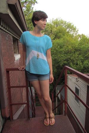 light blue vintage blouse - sky blue Gap shorts - light brown kohls sandals