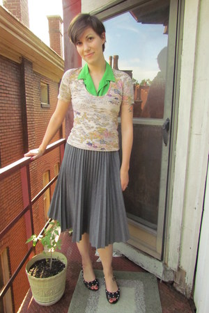 peach Rodarte for Target top - heather gray Trina Turk skirt