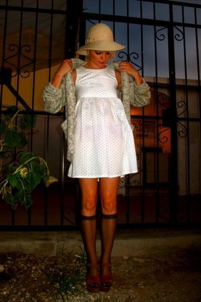 vintage dress - vintage stockings - vintage sweater