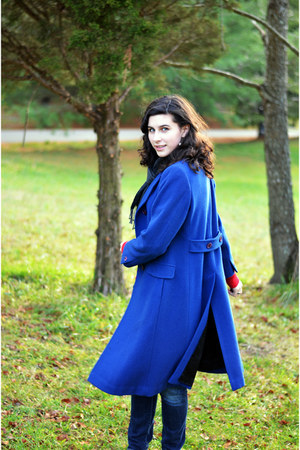 blue vintage coat - red Aeropostale jumper