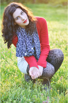 ruby red Aeropostale sweater - navy handmade scarf