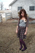 pink Urban Outfitters cardigan - gray TJ Maxx top - black TJ Maxx skirt - purple