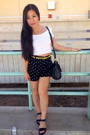 white Forever 21 shirt - black Forever 21 shorts
