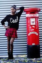 black H&M sweater - red H&M skirt