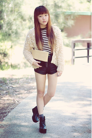 cardigan - bag - shorts