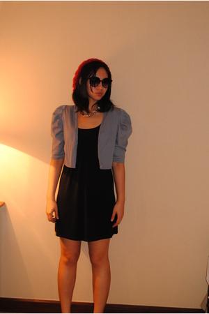 red Forever21 hat - black H&M dress - gray random from Bangkok jacket