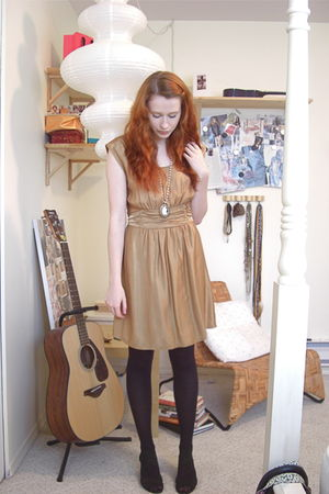 gold H&M dress - black H&M tights - black Suzy Shier shoes - gold Aldo necklace
