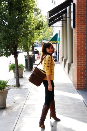 yellow Forever21 sweater - blue Flying Monkey jeans - brown JCrew boots - brown