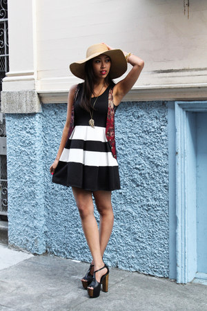 black Charlotte Russe dress - tan Nordstrom hat - black Jessica Simpson heels