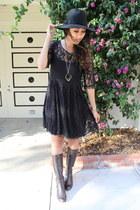 black lace Jigsaw London dress - dark brown Nine West boots