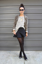 olive green knit JJill sweater - black booties restricted shoes