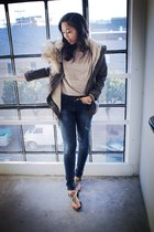 blue Zara jeans - army green Macys jacket - neutral cotton on top