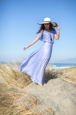 off white floppy hat Cake Plate hat - periwinkle thrifted vintage dress