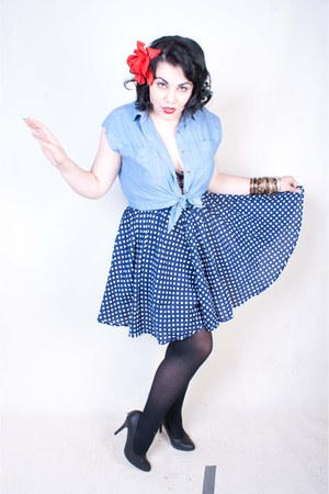 blue skirt - black black tights stockings - sky blue blouse - accessories