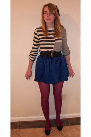 maroon Forever 21 tights - blue Forever 21 skirt - top