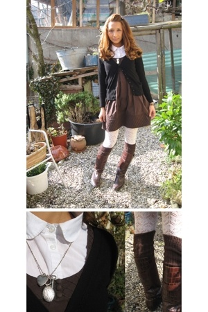 Zara dress - vintage boots - H&M stockings