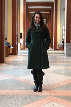 black boots - forest green peacoat coat