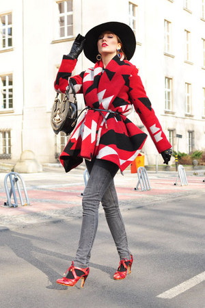 black Sisley hat - ruby red aztec Zara coat