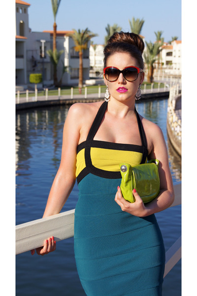 teal bandage dress asos dress - chartreuse clutch Coccinelle bag