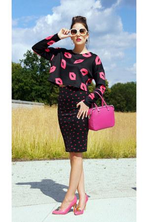 hot pink with studs Furla bag - hot pink H&M top - black H&M skirt