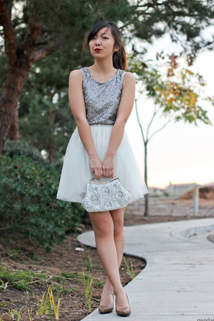 silver sequin tulle H&amp;M dress - tan Aldo pumps