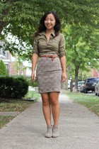 beige lace skirt - silver suede ankle boots - olive green shirt - tan belt