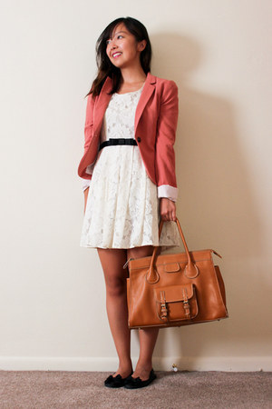 tawny camel satchel melie bianco bag - ivory lace Forever 21 dress