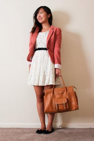 tawny camel satchel melie bianco bag - ivory lace Forever 21 dress