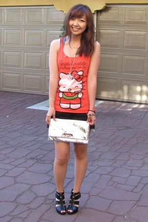 red Forever 21 Sanrio top - gray racerback tank Forever 21 top