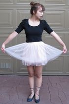 black Forever 21 top - pink Forever 21 skirt - blue Forever 21 shoes