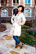 camel faux fur Taiwanese brand boots - beige trench merona coat - dark brown fed