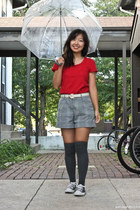 gray knee high socks - heather gray shorts - red t-shirt