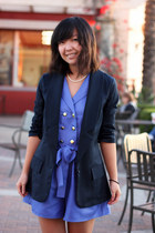 navy blazer - blue romper - ivory pearl necklace
