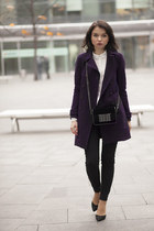 deep purple SH coat - H&M bag - black Zara pants