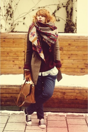 H&amp;M scarf - brown asos coat - navy Zara pants - crimson H&amp;M cardigan