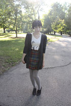 Forever 21 cardigan - New Orleans shop t-shirt - thrifted skirt - Sock Dreams ti
