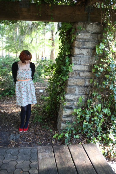 Target dress - Chinese Laundry tights - Forever 21 cardigan -  vintage wedges
