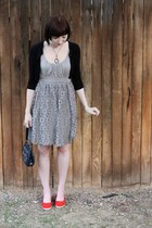 Spotted Moth dress - Vintage from antique mall bag - Forever 21 cardigan - Etsy