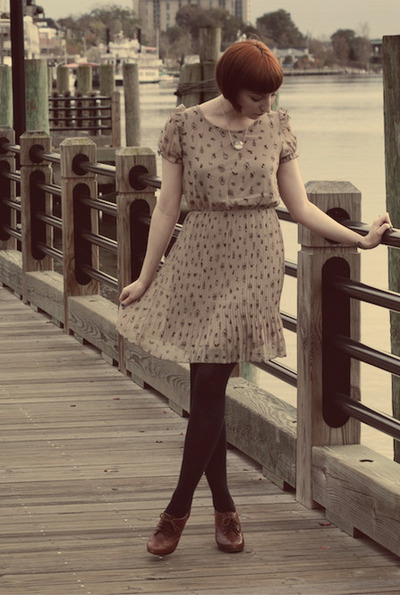 modcloth dress - Chinese Laundry tights - seychelles heels