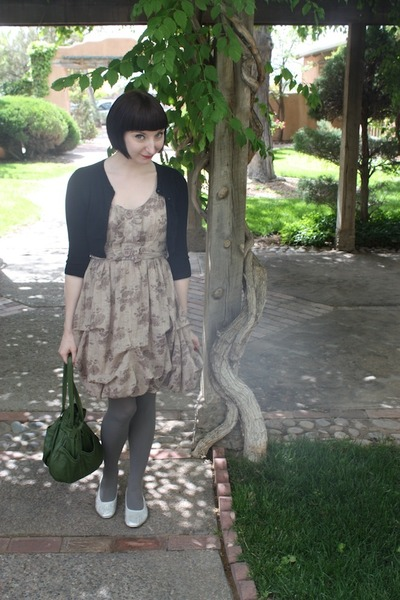 modcloth dress - vintage bag - Forever 21 cardigan - vintage from etsy flats