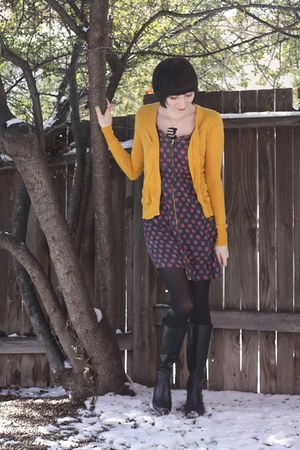 vintage from Ebay boots - Maude dress - Urban Outfitters cardigan - Aroha Silhou