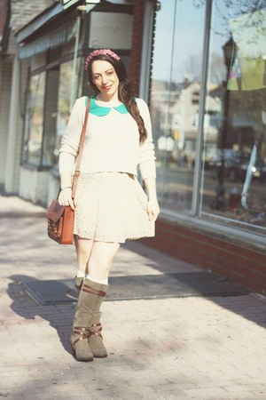 vintage sweater - Rampage boots - H&amp;M bag - Forever 21 blouse - vintage skirt
