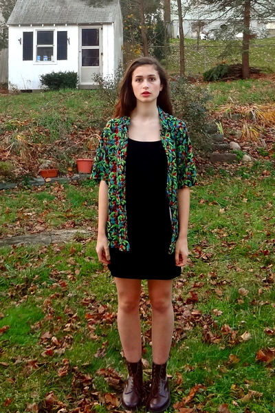 vegan doc martens boots - velvet Thrift Store dress - Thrift Store blouse